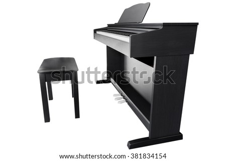 piano isolated on a white background - stock photo