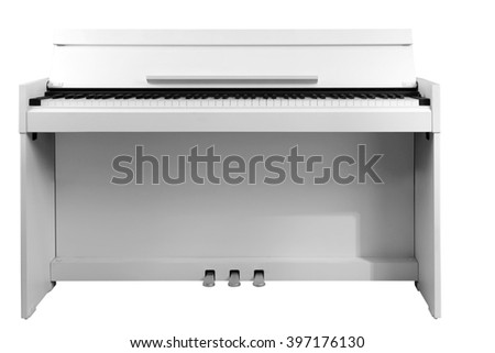 Piano isolated on white - stock photo