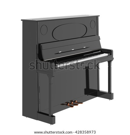 Piano. Isolated on white background. Include clipping path. 3d render