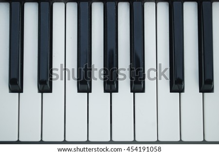 Piano keyboard. Black and white theme. Top view.