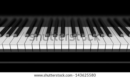 Piano keyboard close up 3d render - stock photo