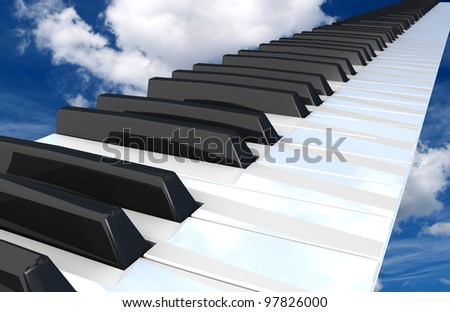 piano keyboard flying in the sky. - stock photo