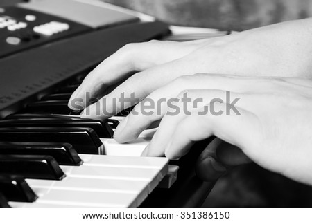 Piano keyboard. Music instrument. Black and white key. Play sound, chord, melody. Classical, musical art. Jazz performance, entertainment. Musician background. Classic note harmony. Vintage effect  - stock photo