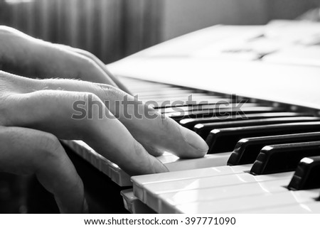 Piano keyboard. Music instrument. Black and white key. Play sound, chord, melody. Classical, musical art. Jazz performance, entertainment. Musician background. Classic note harmony.