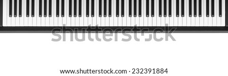 Piano keyboard on white background - stock photo