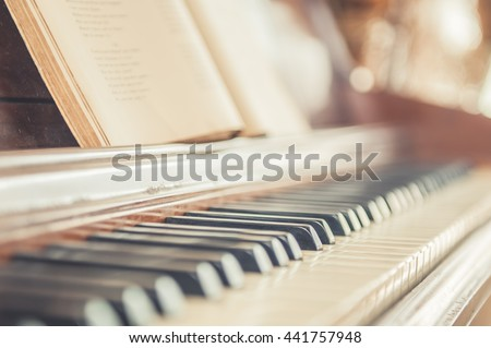 piano, keyboard piano, side view of instrument musical tool. - stock photo
