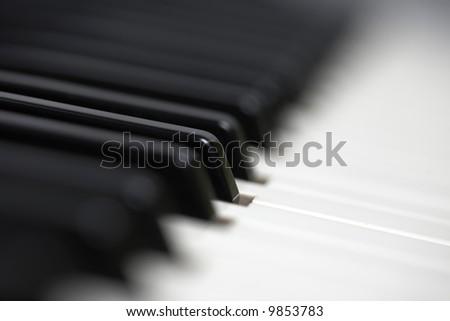 piano keyboard shallow dof - stock photo