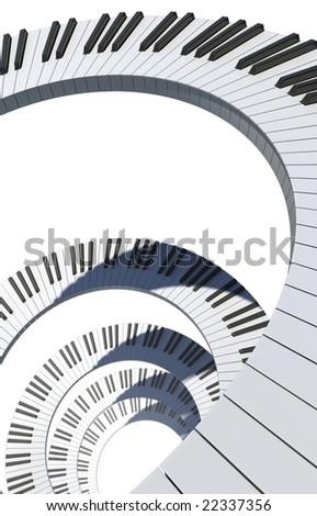 Piano keyboard spiral - stock photo