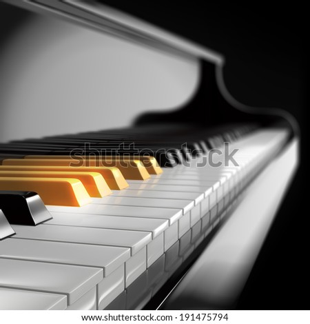 piano keyboard with golden keys - stock photo