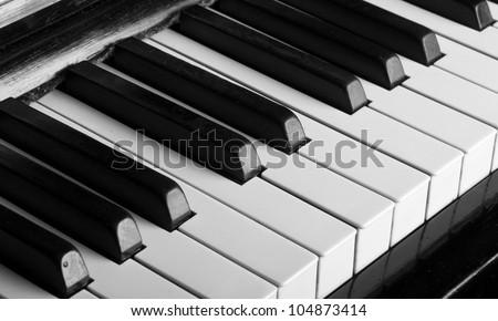 piano keys closeup monochrome - stock photo