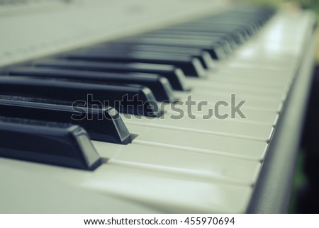 Piano keys from low angle point.vintage tone..selective focus, Soft focus - stock photo