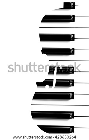 piano keys in violin shape & copy space on left for music background - stock photo