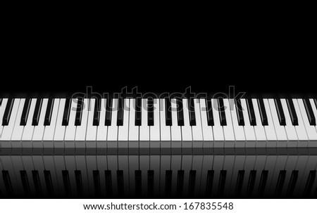 Piano keys on black background - stock photo