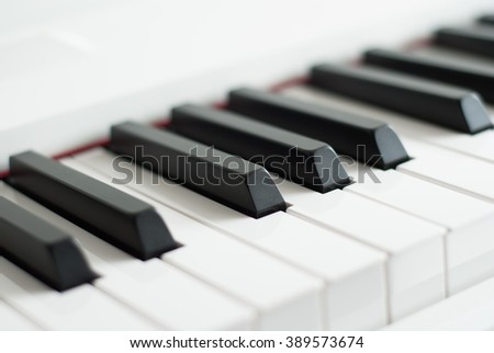 Piano keys. Piano playing. Black and white keys. Electronic piano. Musical instrument. - stock photo