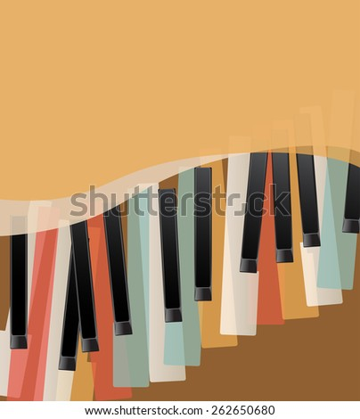 piano keys retro orange background with space for text. raster version - stock photo