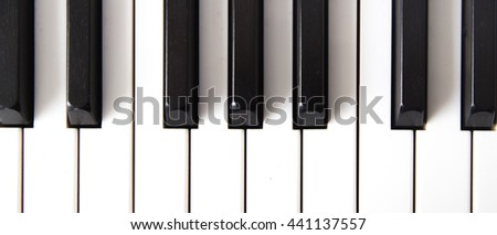 Piano keys viewed from above.