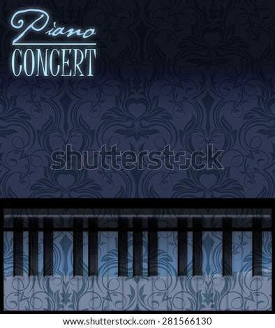 Piano poster illustration - stock photo