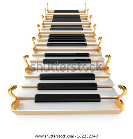 Piano stairway and notes on the white background  - stock photo