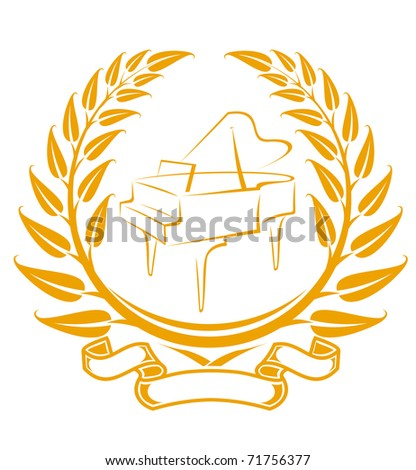 Piano symbol in laurel wreath isolated on white. Vector version also available in gallery - stock photo