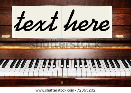 piano vintage close up layout for text