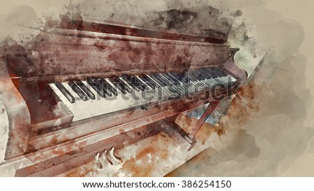 Piano Water Painting Illustration