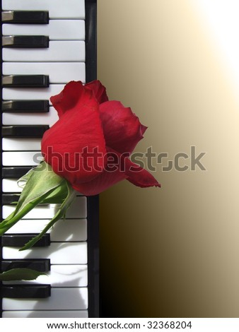Piano with rose background for different uses (invitations, postcards) - stock photo
