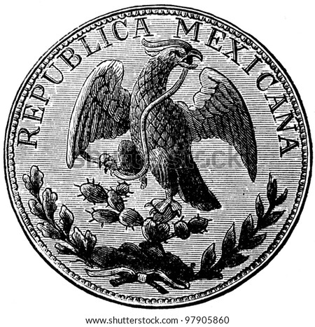 """Piastra, Mexico, 1870s - an illustration to articke """"Coins"""" of the encyclopedia publishers Education, St. Petersburg, Russian Empire, 1896 - stock photo"""