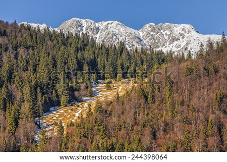 Piatra Craiului mountains peaks covered by snow in Piatra Craiului National Park, Brasov county, Romania. - stock photo