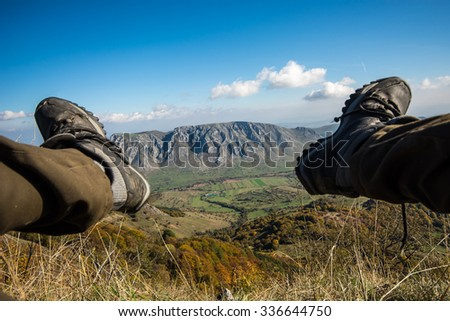 Piatra Secuiului with the border of two hiking legs