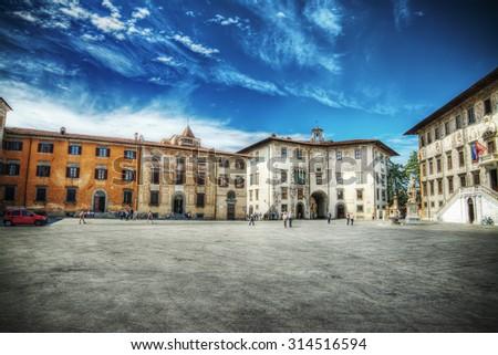 Piazza dei Cavalieri in Pisa, Italy - stock photo