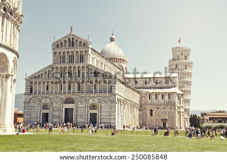 Piazza dei Miracoli complex with the leaning tower of Pisa