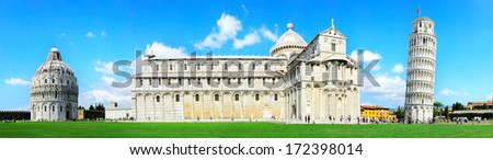 Piazza dei Miracoli complex with the leaning tower of Pisa , Italy  - stock photo