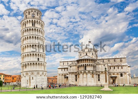 Piazza dei miracoli, with the Basilica and the leaning tower. - stock photo