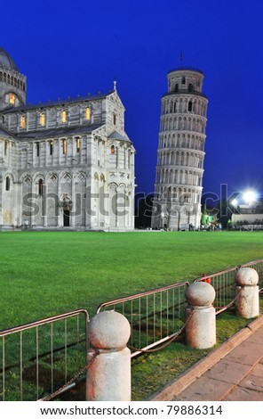 Piazza dei miracoli, with the Basilica and the Leaning Tower, Pisa, Italy - stock photo