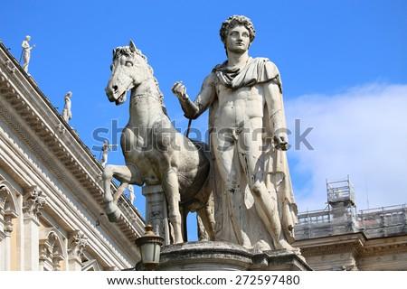 Piazza del Campidoglio - Statue of Castor at the Cordonata stairs in Rome, Italy - stock photo