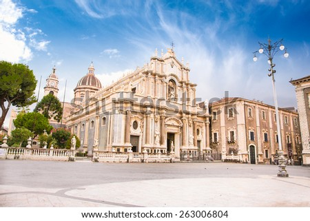 Piazza del Duomo in Catania with the Cathedral of Santa Agatha in Catania in Sicily, Italy.