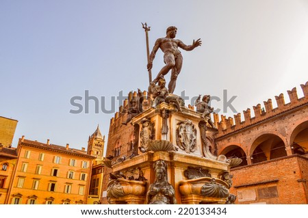 Piazza del Nettuno fountain in Bologna in Emilia Romagna in Italy