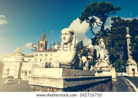 Piazza del Popolo is a large urban square in Rome, Italy. - stock photo