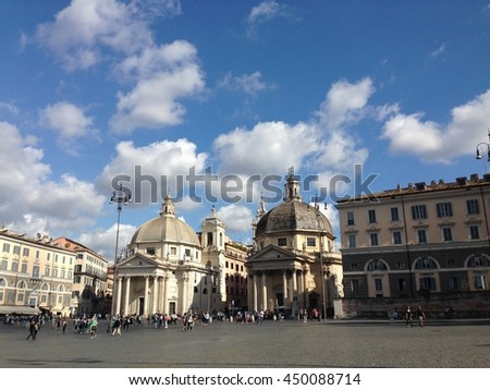 Piazza del Popolo is a large urban square in Rome Italy