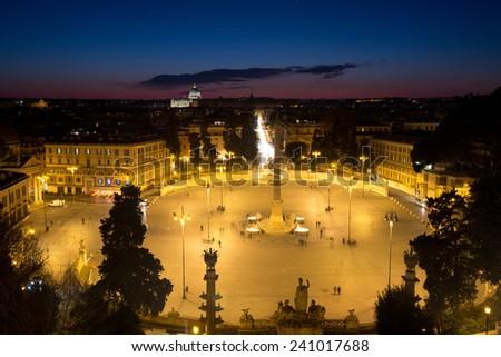 Piazza del Popolo (People's Square) in Rome, Italy - stock photo