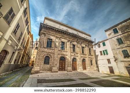 Piazza del Teatro in Alghero old town, Italy - stock photo