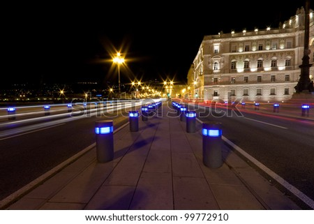 Piazza dell'Unit� d'Italia by night at Christmas time, Trieste, Italy - stock photo