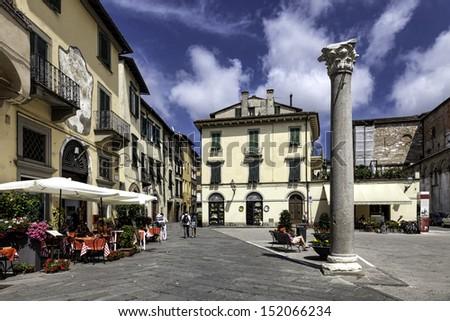 Piazza della colonna mozza in Lucca, Tuscany, Italy. - stock photo