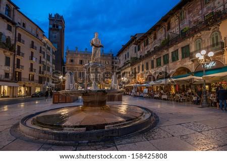 Piazza delle Erbe and Palazzo Maffei, Verona, Italy - stock photo