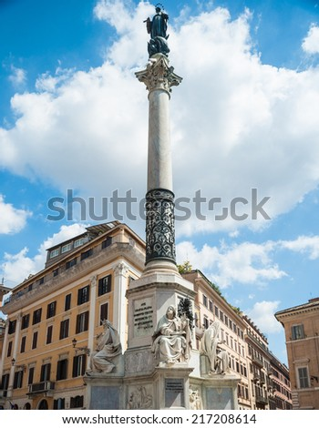 Piazza di Spagna with Column of the Immaculate Conception in Rome. Has more than 20m high with a bronze statue of the Virgin Mary on top. - stock photo