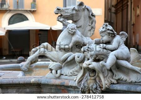 Piazza Navona, Neptune Fountain in Rome, Italy  - stock photo