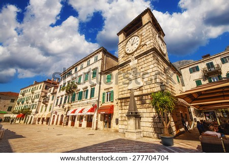 Piazza of the arms, Kotor old town, Montenegro (April 10th 2015) - stock photo