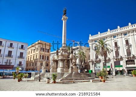 Piazza San Domenico in Palermo. Sicily, Italy. - stock photo