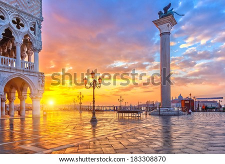Piazza San Marco at sunrise, Vinice, Italy - stock photo
