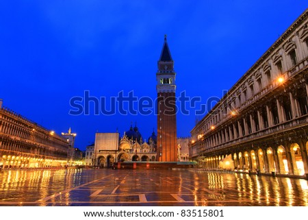 Piazza San Marco ( St Mark's Square), is the principal public square of Venice, Italy. - stock photo